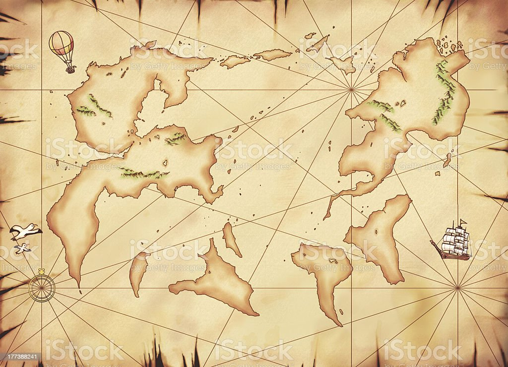 Old Map, Another world vector art illustration
