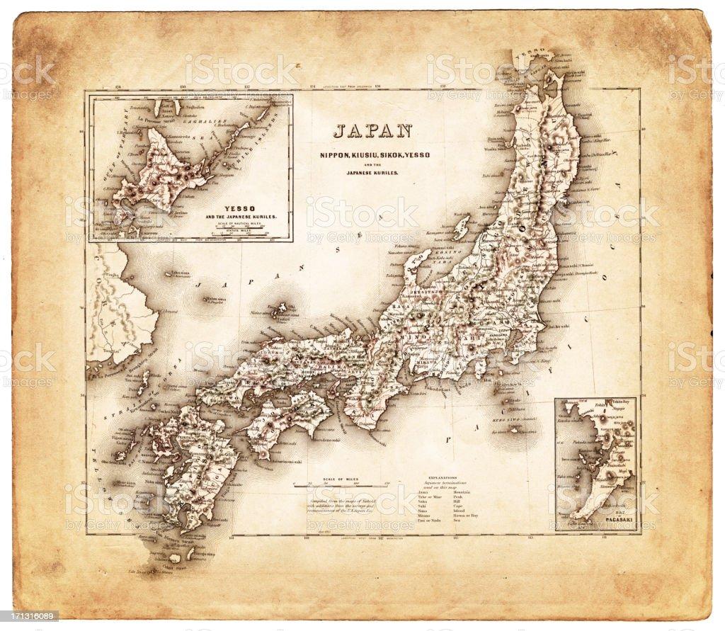 old map 日本 1874 ベクターアートイラスト