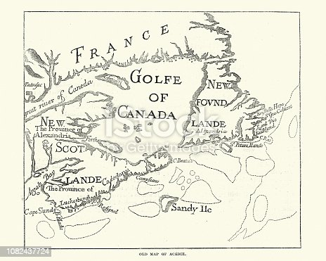 Vintage engraving of Old Map of Acadie. Acadia, French name for the former French colony today comprising roughly the Canadian provinces of Nova Scotia, New Brunswick, and Prince Edward Island