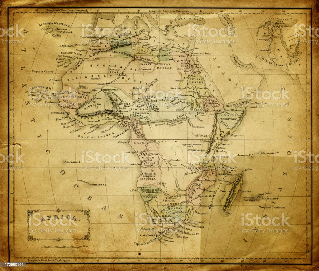 Old Map Of Africa Stock Vector Art More Images Of Africa 173990144
