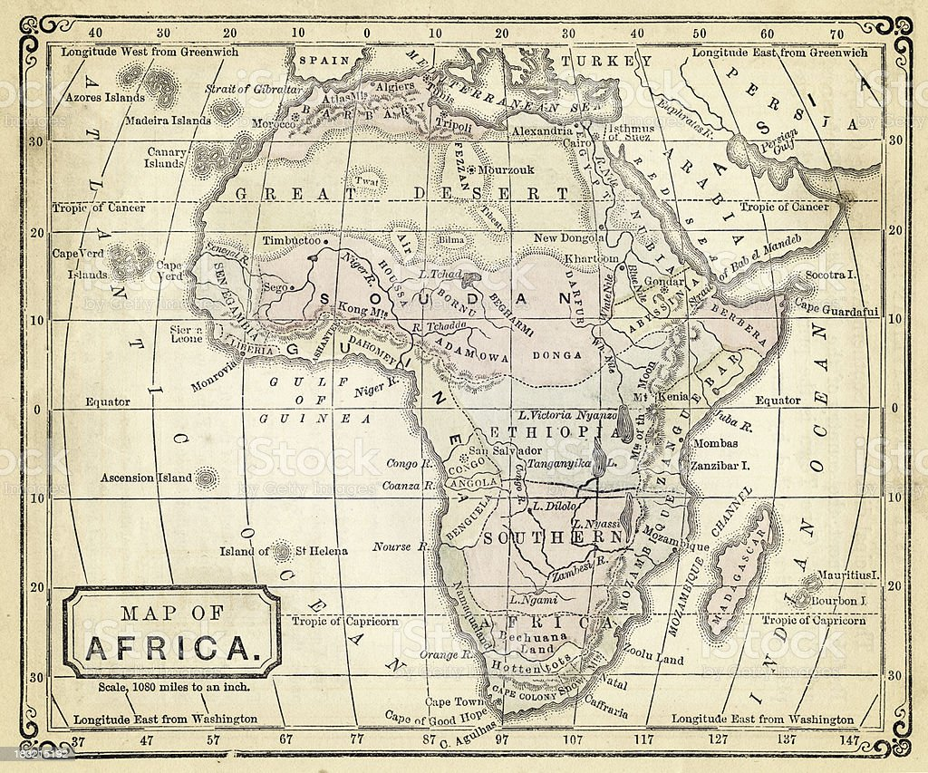 Old Map Of Africa Stock Vector Art More Images Of Africa 183215192