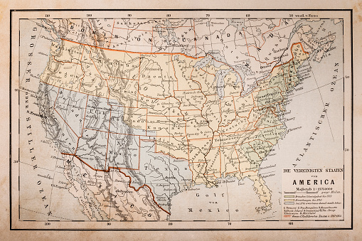 Illustration of a Old map of America