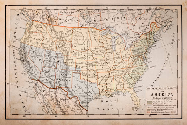 Old map of America Illustration of a Old map of America florida us state stock illustrations