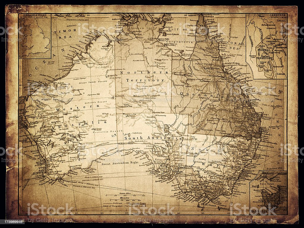 old map of australia royalty-free stock vector art