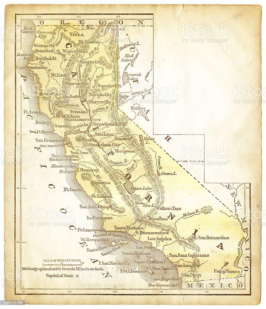 Old Map Of California 1856 stock vector art 580131260 iStock