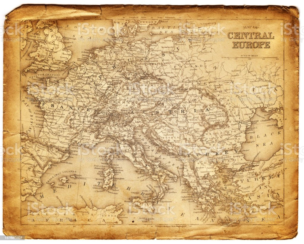 old map of central europe royalty-free stock vector art