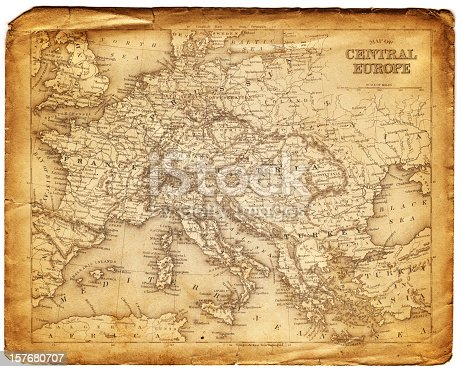 an old map form 1870, showing central europe countries