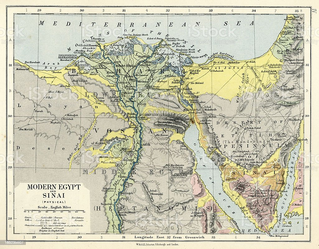 Old Map Of Egypt And Sinai Stock Vector Art More Images Of 19th