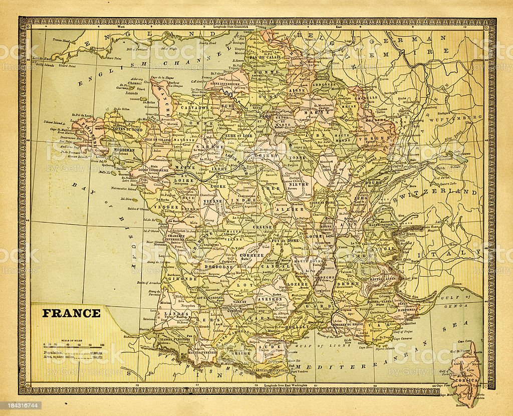 Old Map Of France.Old Map Of France Stock Illustration Download Image Now
