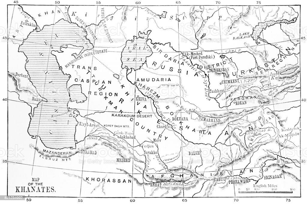 Old map of Khanates (Central Asia) vector art illustration
