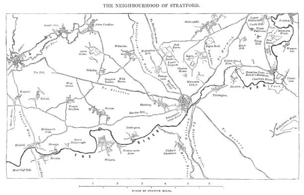 Stratford England Map.Old Map Of The Stratfordonavon District Of England Circa 16th