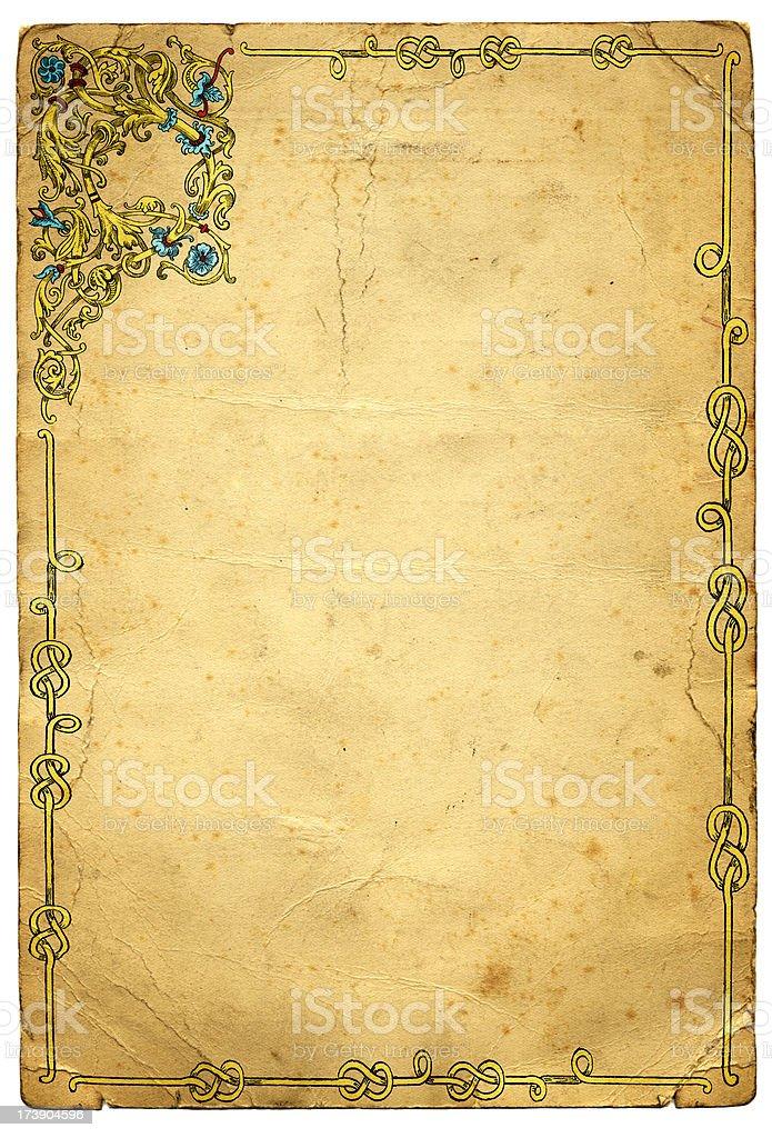Old Medieval Illuminated Frame Design vector art illustration