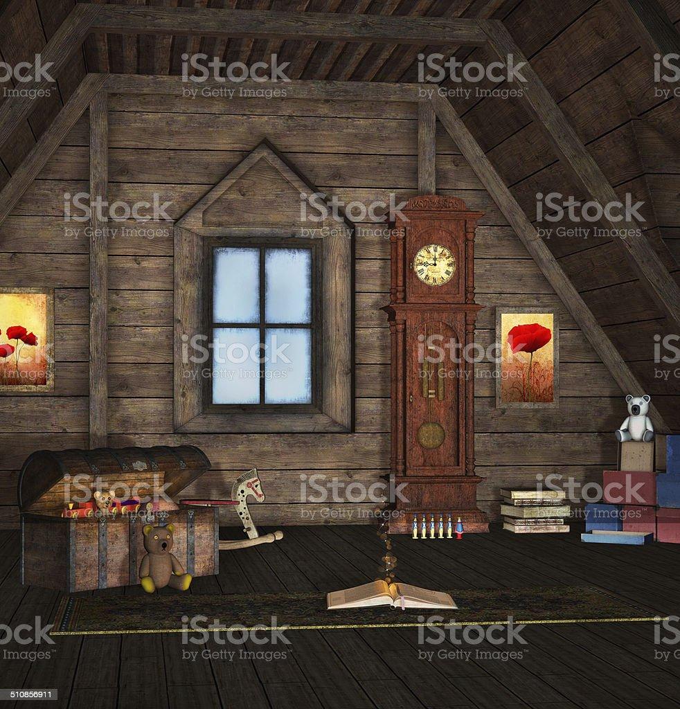 Old memories room vector art illustration