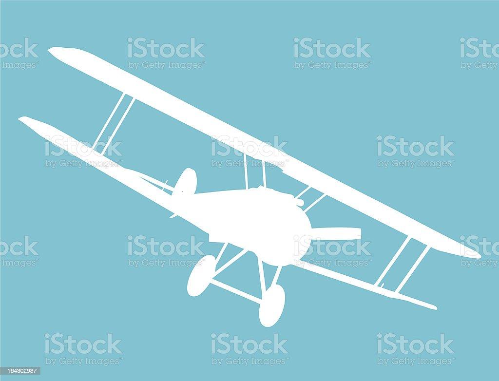 old military biplane vector art illustration