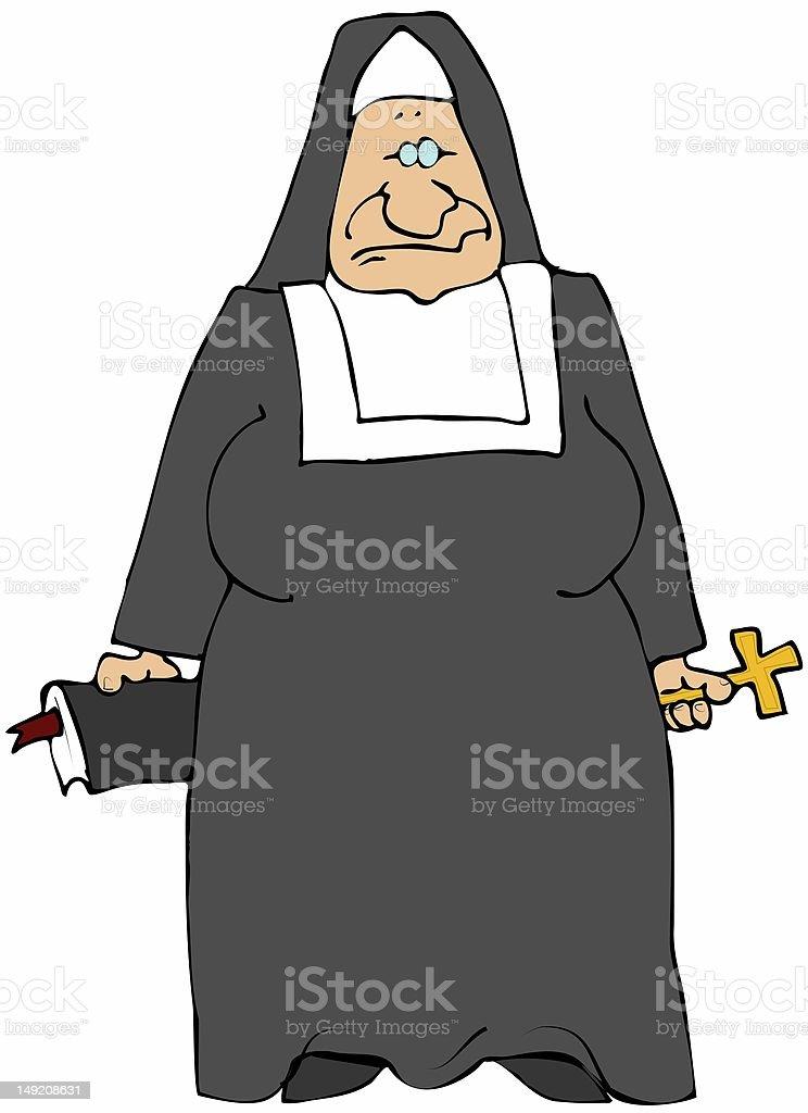Old Nun royalty-free stock vector art