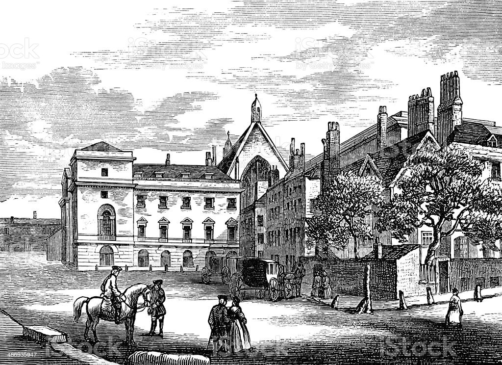 Old Palace Yard in 1796 from a drawing by Miller royalty-free stock vector art