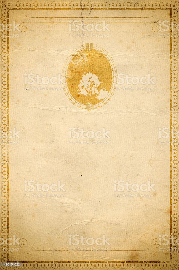 Old paper background with decorative border. vector art illustration