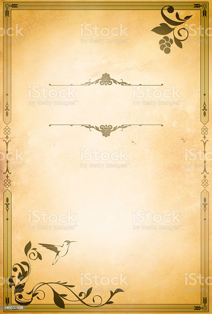 Old Paper Background With Oldfashioned Decorative Border Stock ...