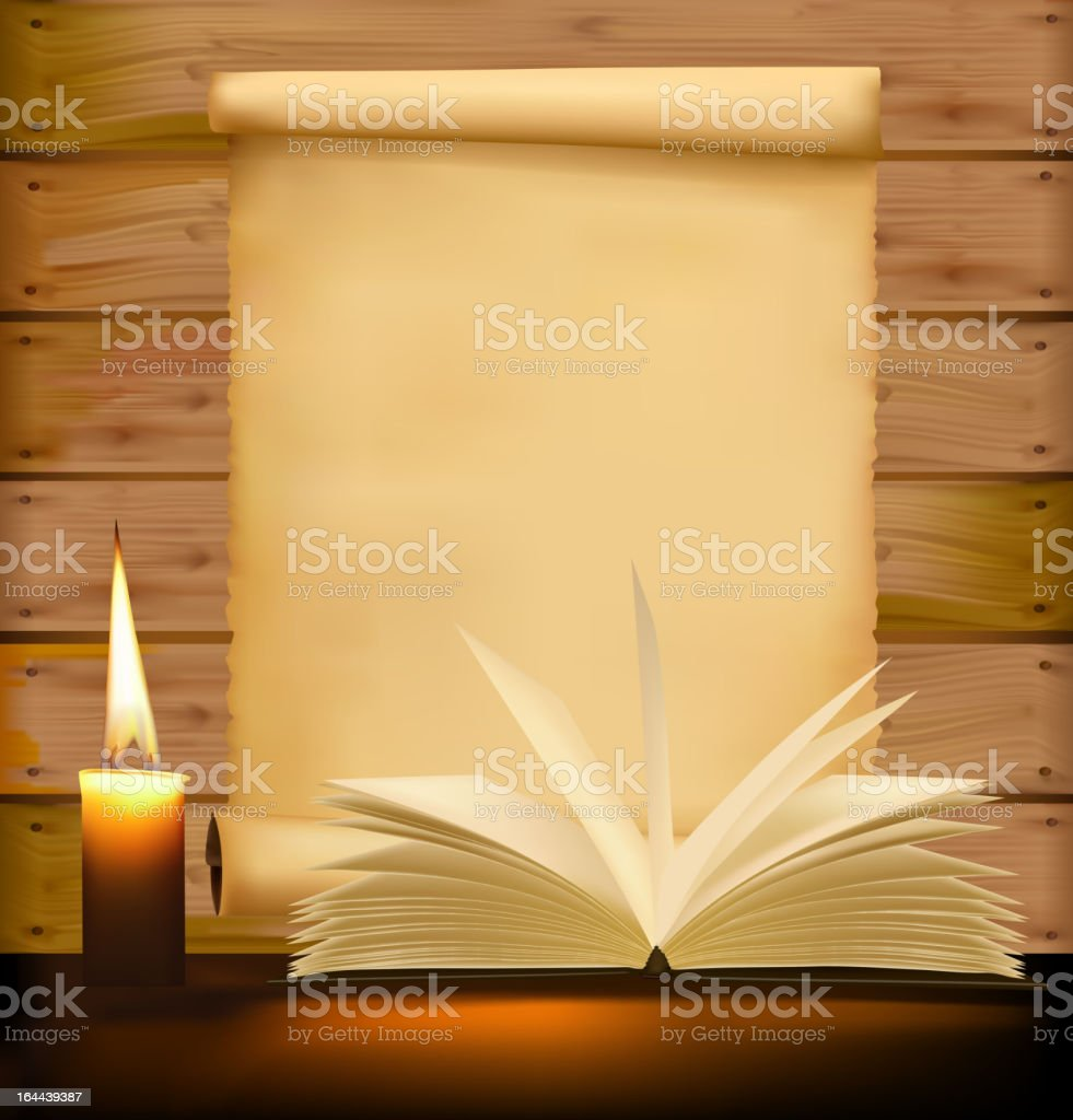 Old paper, candle and open book on wood background. vector art illustration