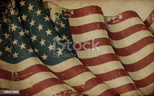Illustration of a rusty American flag printed on old paper