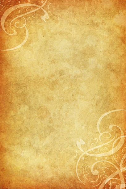 old paper with calligraphic floral corners vector art illustration