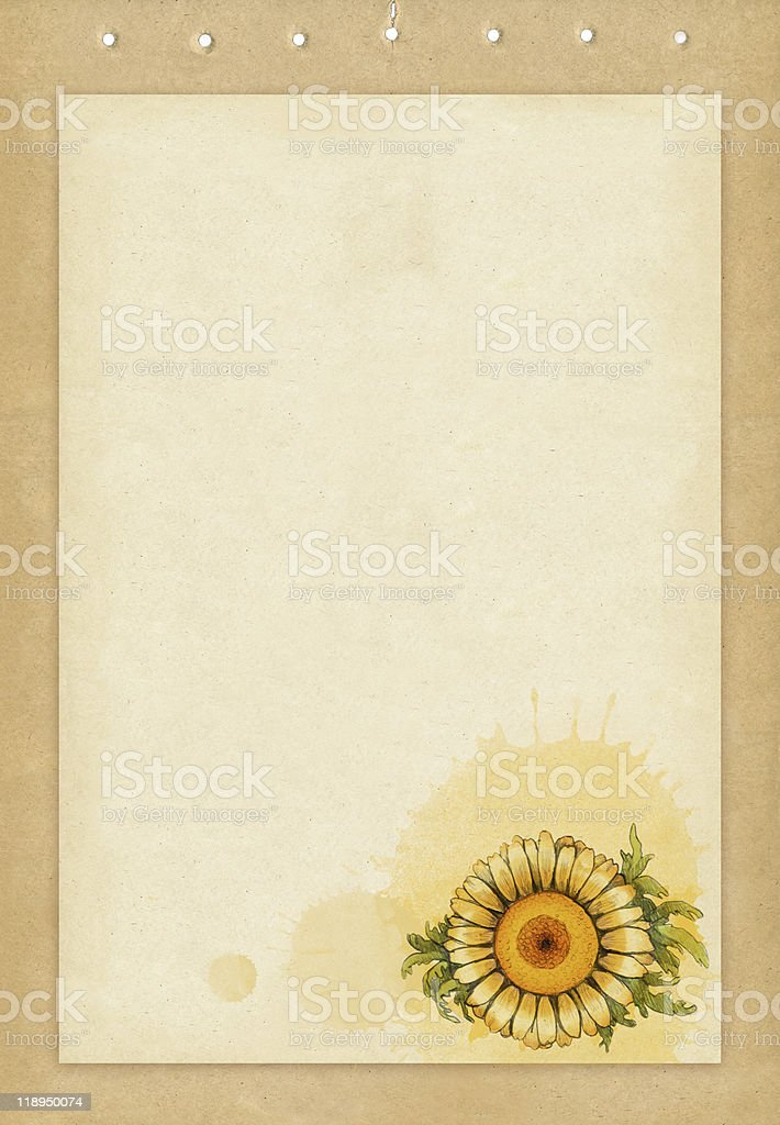 Old paper with flower royalty-free stock vector art
