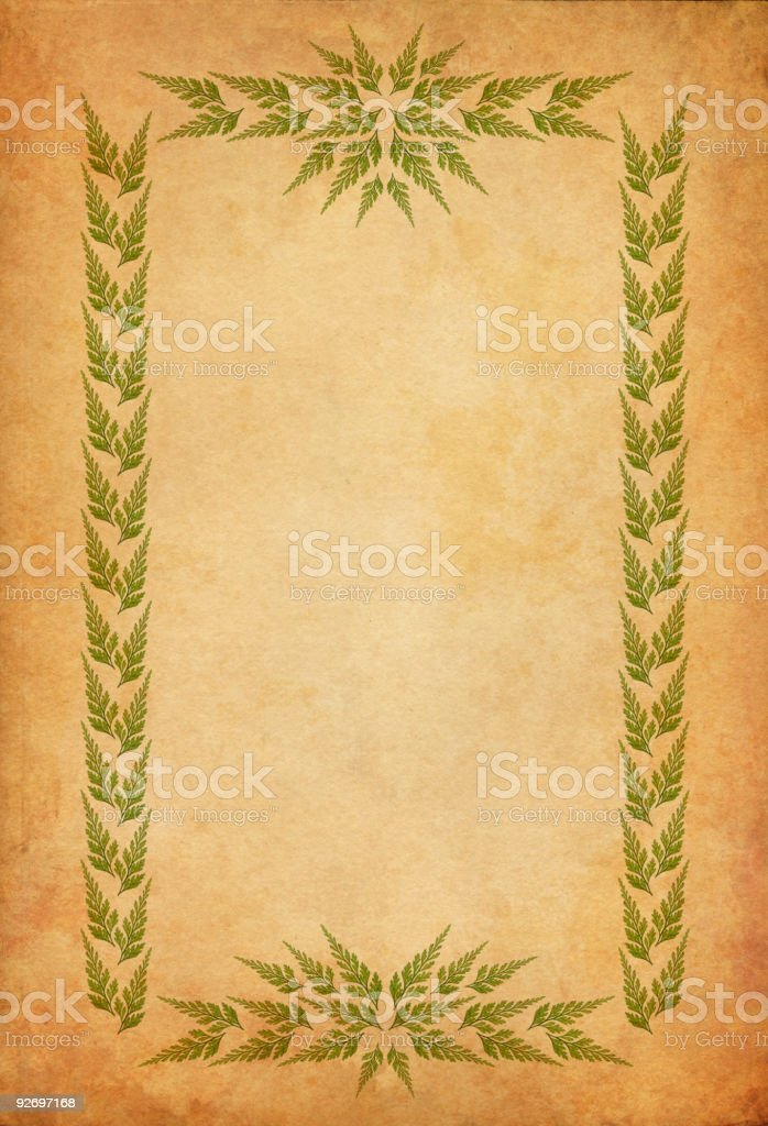 old paper with leaf-frame vector art illustration