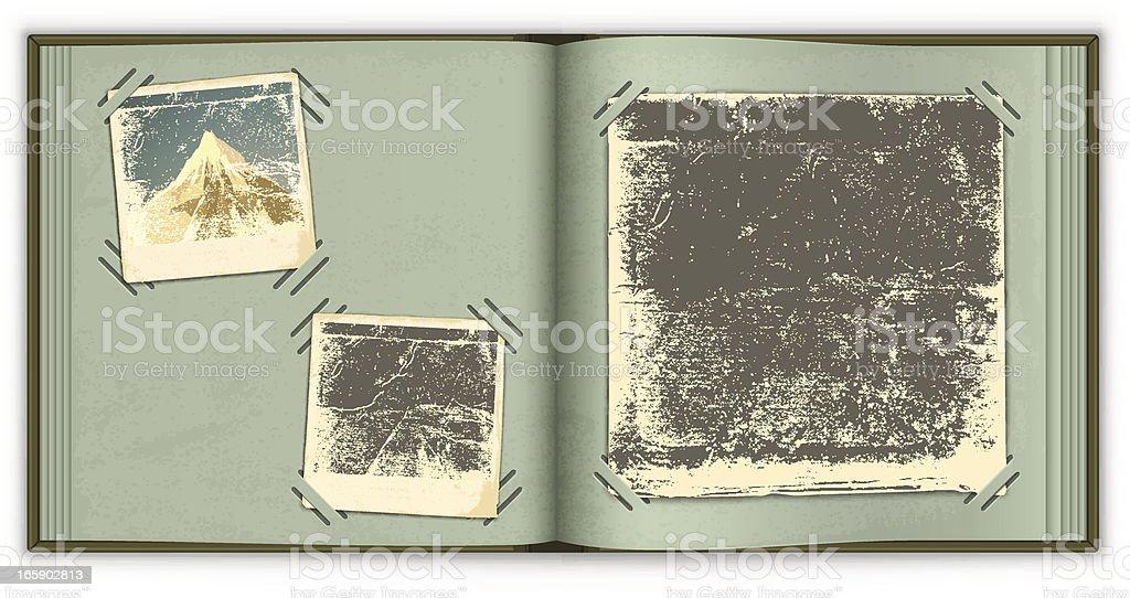Old photo album vector art illustration