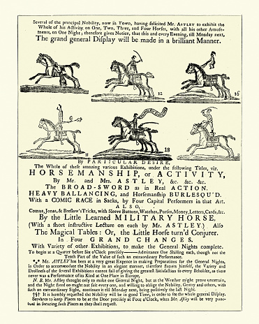 Old playbill poster for Astley's Amphitheatre, London