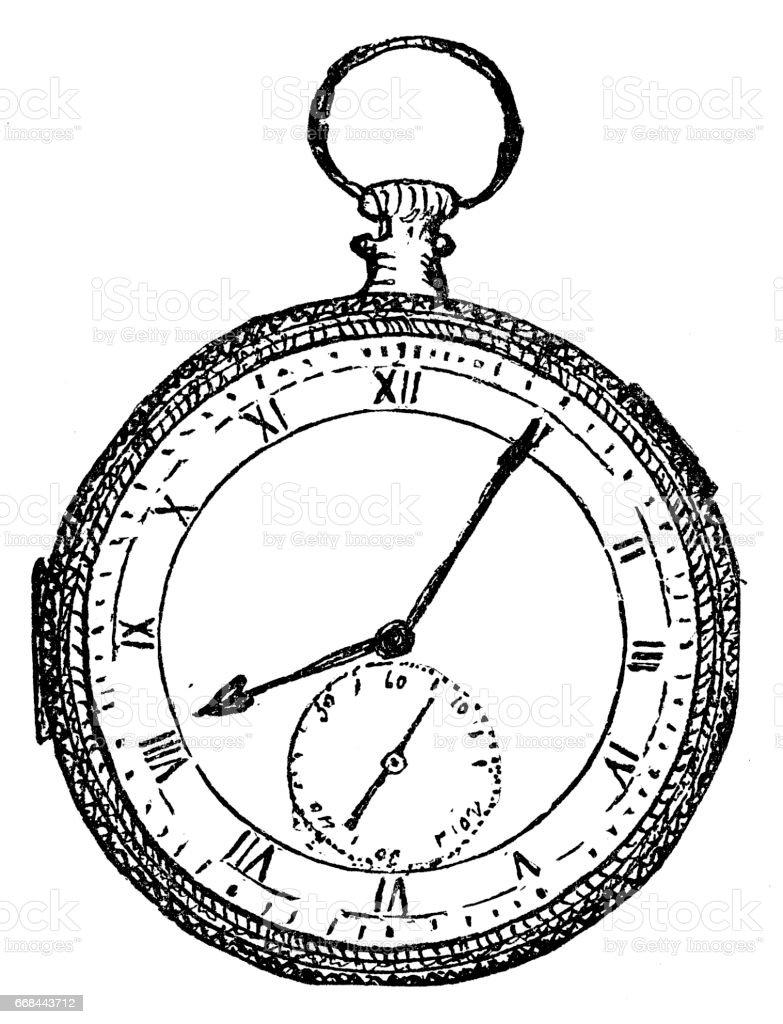Old Pocket Watch vector art illustration
