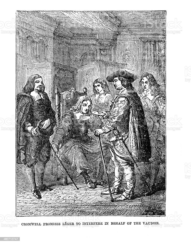 Old print  Cromwell being petitioned to help the persecuted Waldensians vector art illustration