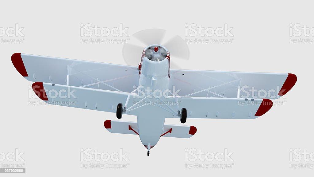 old retro bi plane isolate on white. 3d rendering vector art illustration