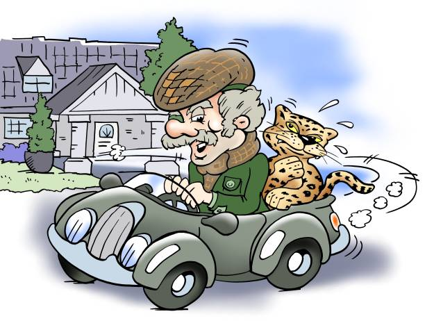 old rich man driving with a jaguar on the backseat - old man clipart stock illustrations, clip art, cartoons, & icons