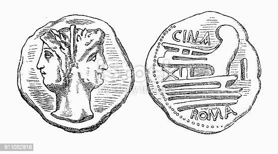 Old Roman Coin Two Headed Janus Stock Vector Art & More