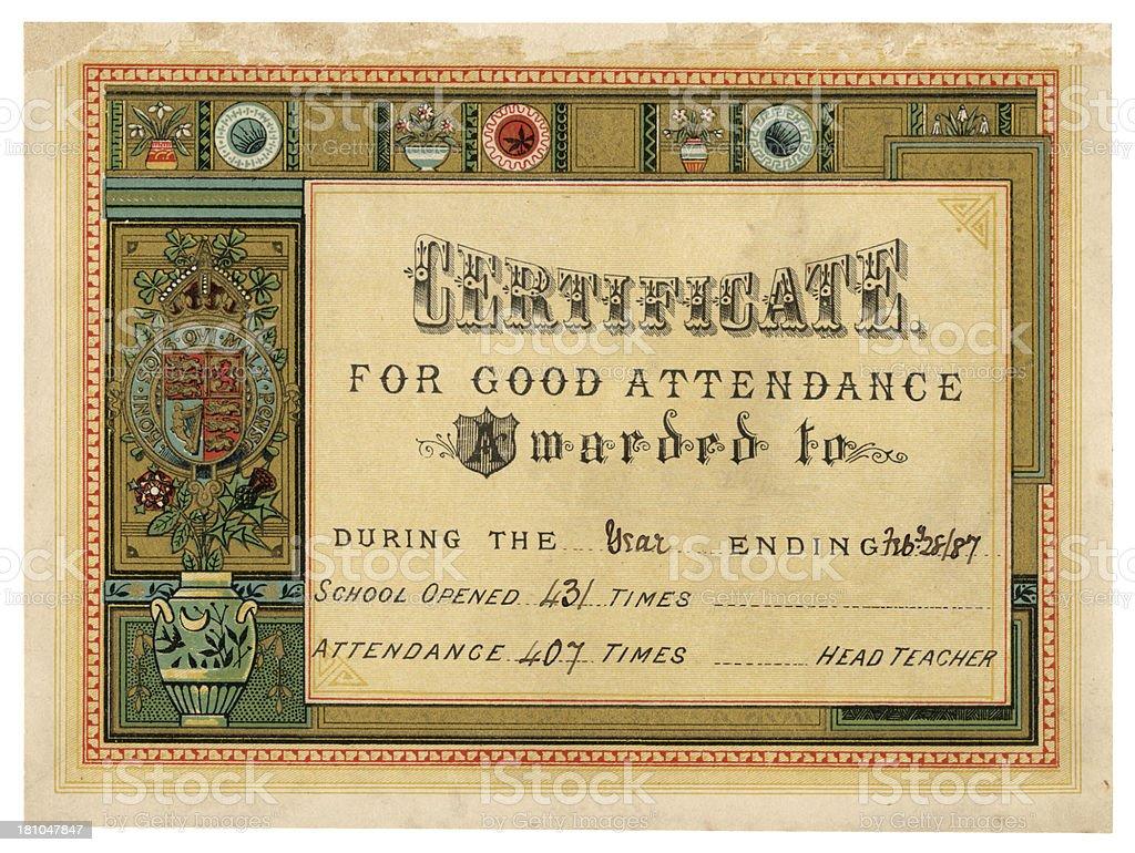 Old school attendance certificate, 1887 vector art illustration