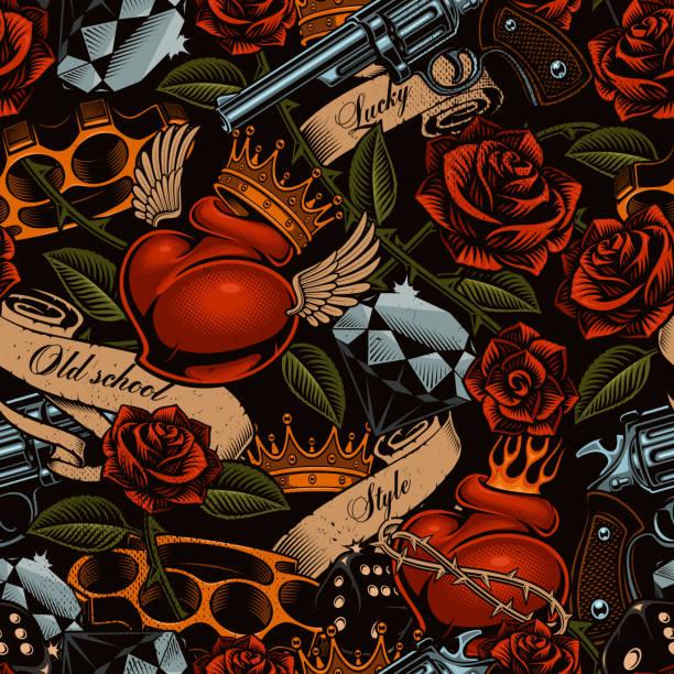 Old school tattoo pattern vector art illustration