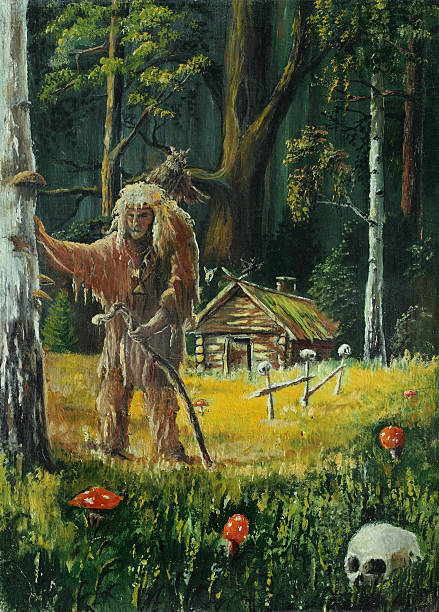 old shaman in the woods - old man picture pictures stock illustrations, clip art, cartoons, & icons
