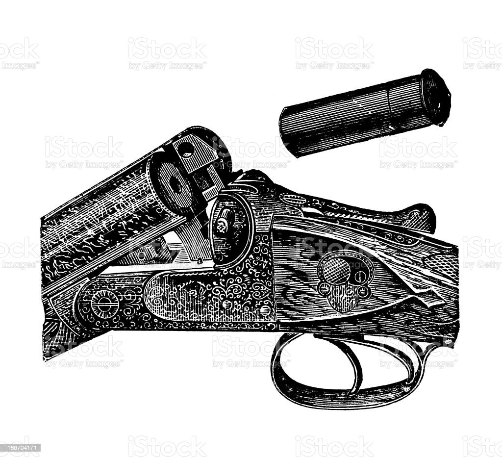 Old shotgun,19th century. vector art illustration