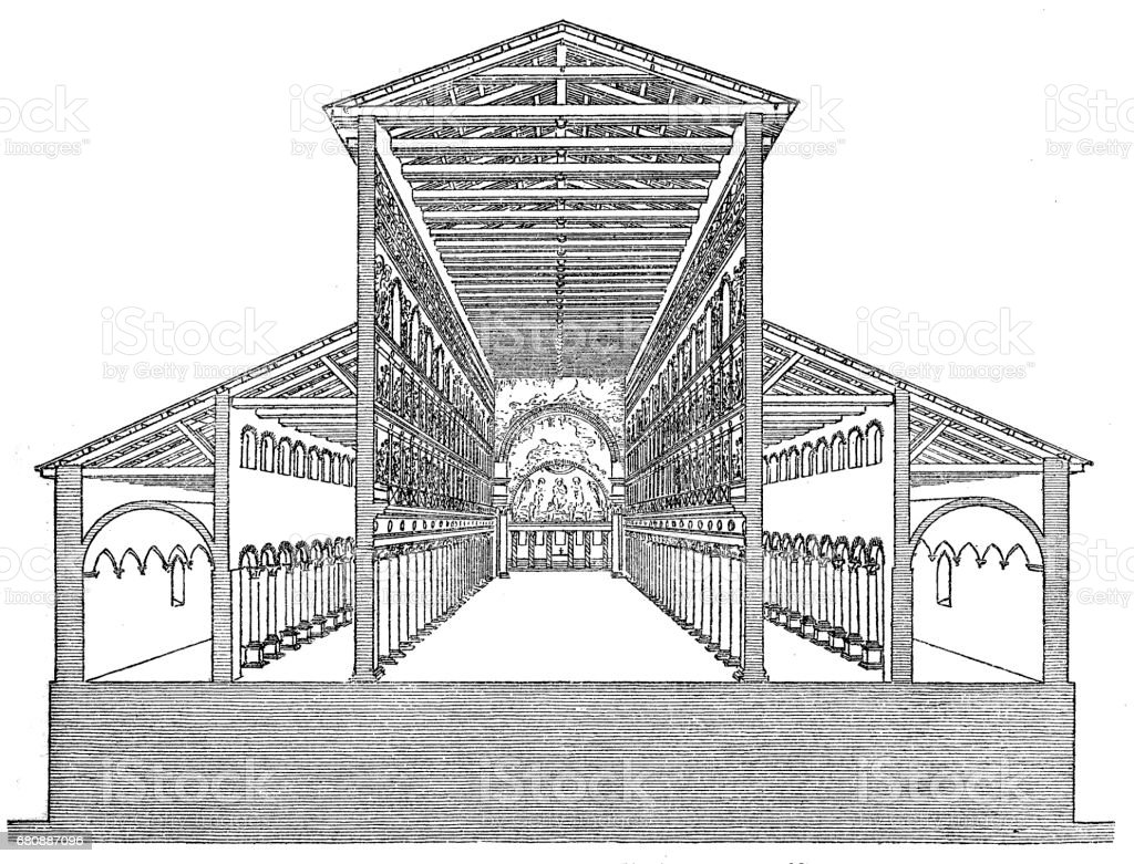 Old St. Peter's Basilica, built by Constantine the Great vector art illustration