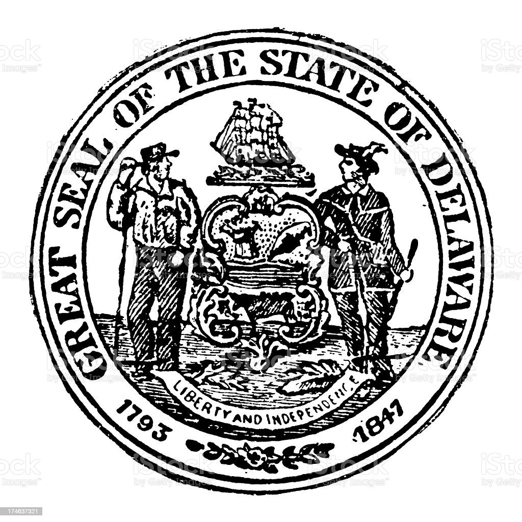 Old State Seal Of Delaware Stock Illustration Download Image Now Istock