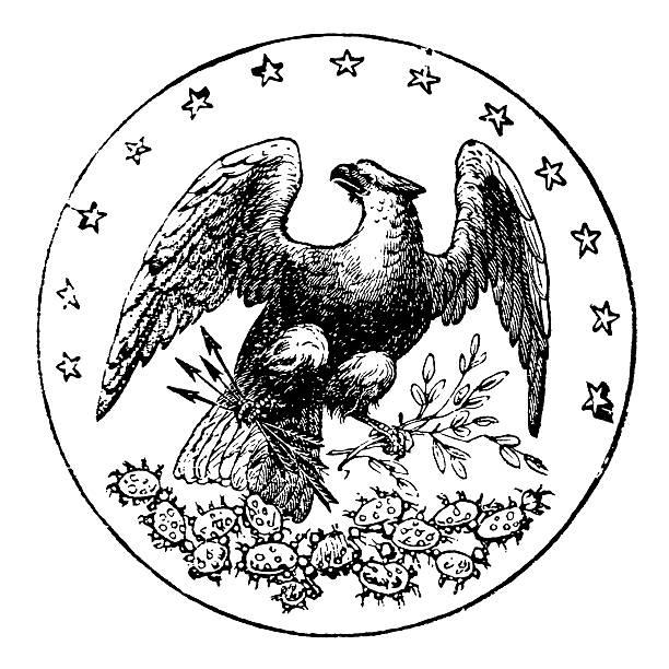 stockillustraties, clipart, cartoons en iconen met old state seal of florida - kaal geschoren hoofd