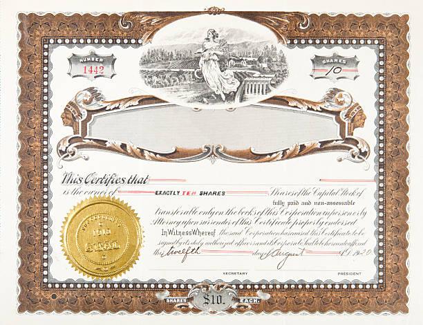 XL Old Stock Certificate Brown Ornate Boarder Farm Fields vector art illustration