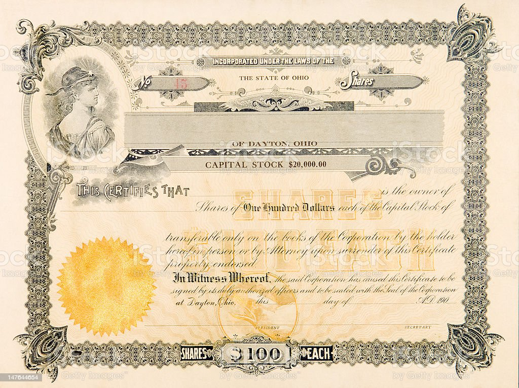 Old Stock Certificate from 1904 Ohio, USA Woman Star Vinette vector art illustration