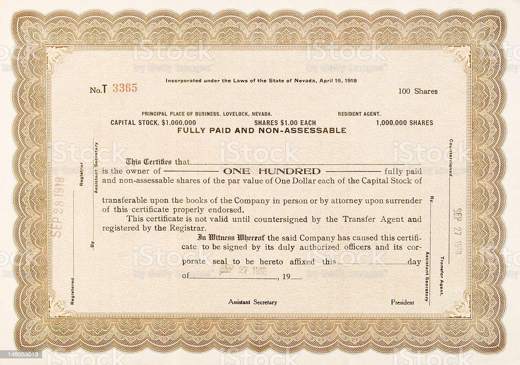 Old Stock Certificate Lovelock, Nevada 1918 100 Shares royalty-free stock vector art