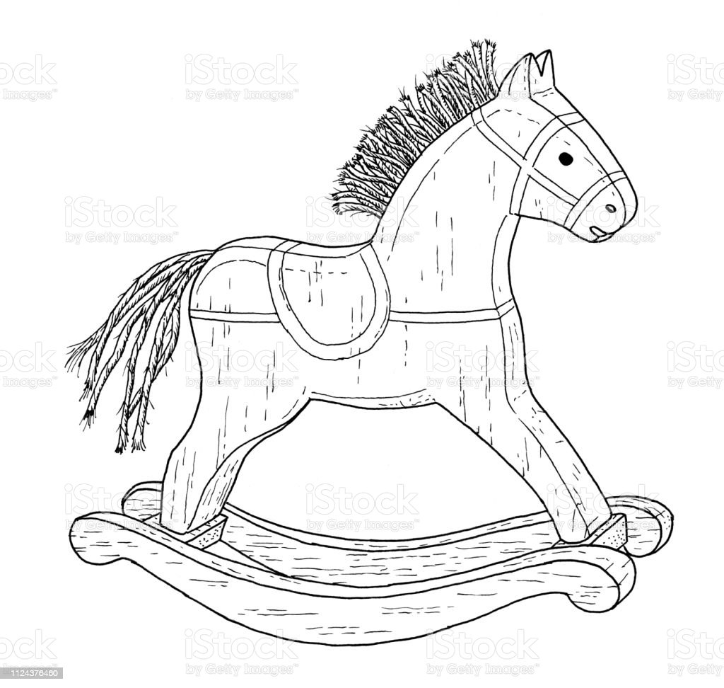 Old Style Rocking Horse Drawing Vintage Like Illustration Of Childrens Toy On White Background Stock Illustration Download Image Now Istock