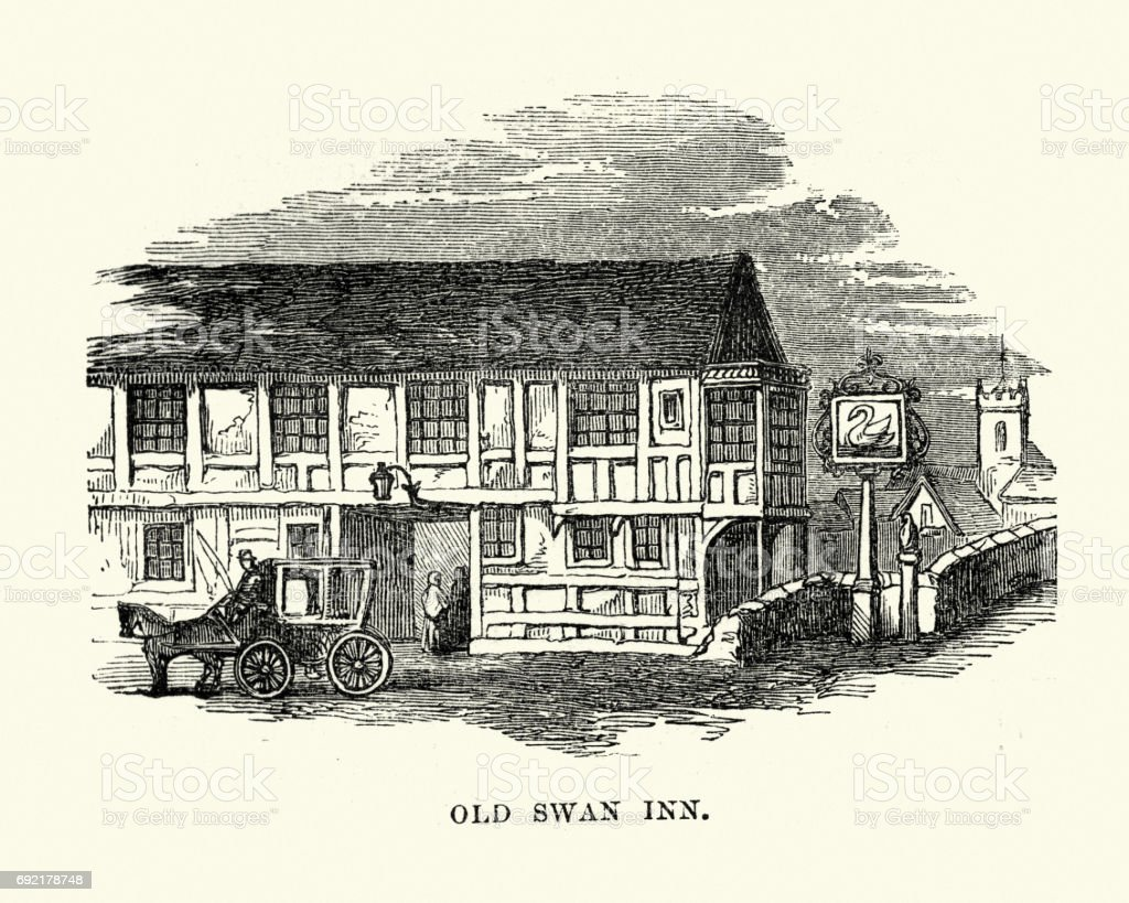 Old Swan Inn, Elstow, Bedfordshire vector art illustration