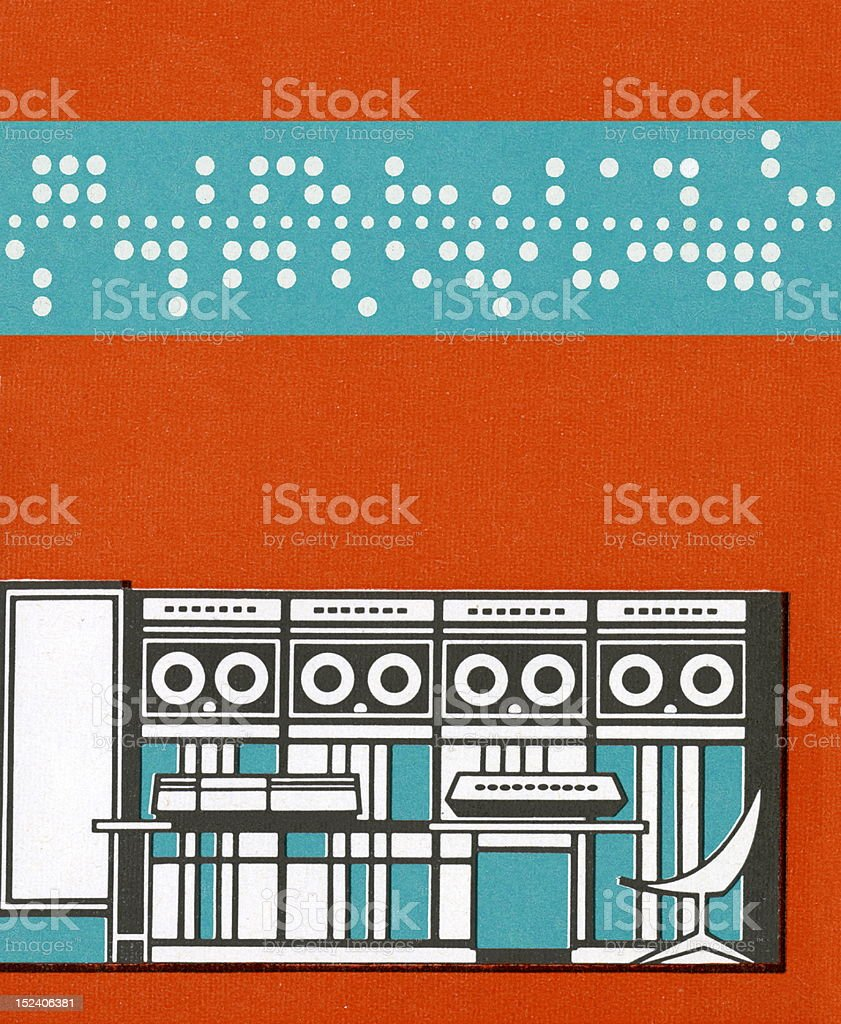 Old Time Computer With Punch Card vector art illustration