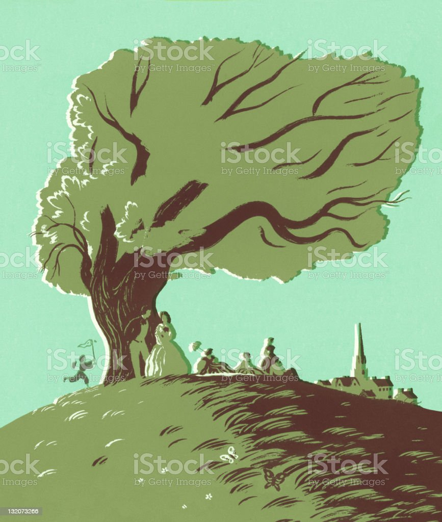 Old Time Scene Under Tree royalty-free stock vector art