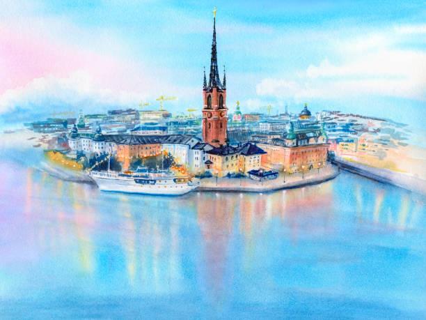 bildbanksillustrationer, clip art samt tecknat material och ikoner med gamla stan in stockholm, sweden - stockholm overview
