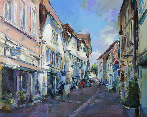 old town landscape painting old town landscape painting - acrylic paints on hardboard impressionism stock illustrations